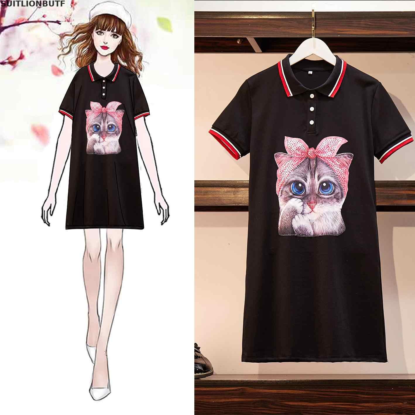 Suitlionbutf Women Summer Dress Cartoon Cat Hot Drilling Print Dresses Turn-down Collar Straight Dresses OL Women Dress