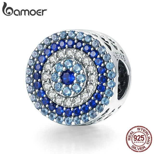 BAMOER Fashion New 925 Sterling Silver Blue Eye Lucky Blue Cubic Zircon Beads Charms fit Necklace Bracelets DIY Jewelry SCC915