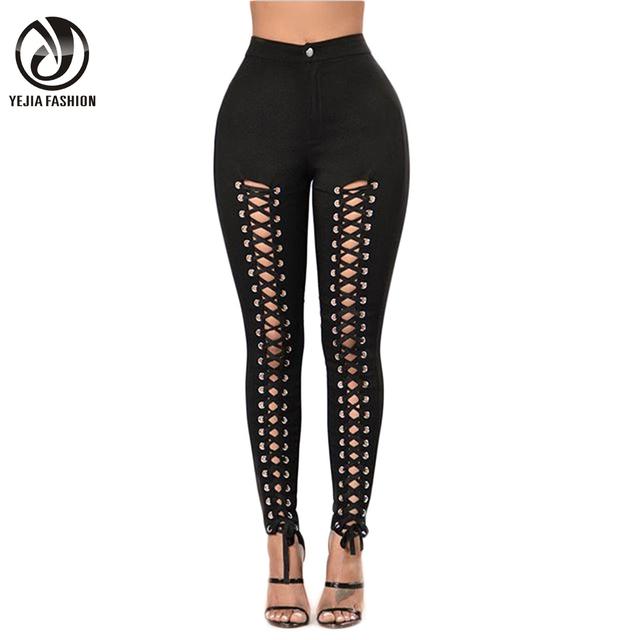 YJSFG CASA Mujer Primavera Otoño Ahueca Hacia Fuera el Lápiz Pantalones de Cintura Alta Vendaje Leggings Pantalones Femeninos de Encaje Stretch Bodycon