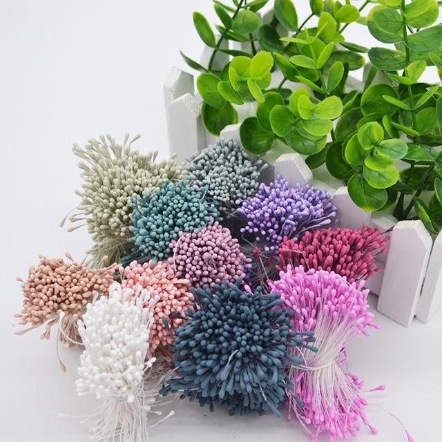 400 unids/lote Mini Multicolor DIY perla flor doble cabezas estampa artesanía tartas decoración Floral boda caja Decoración