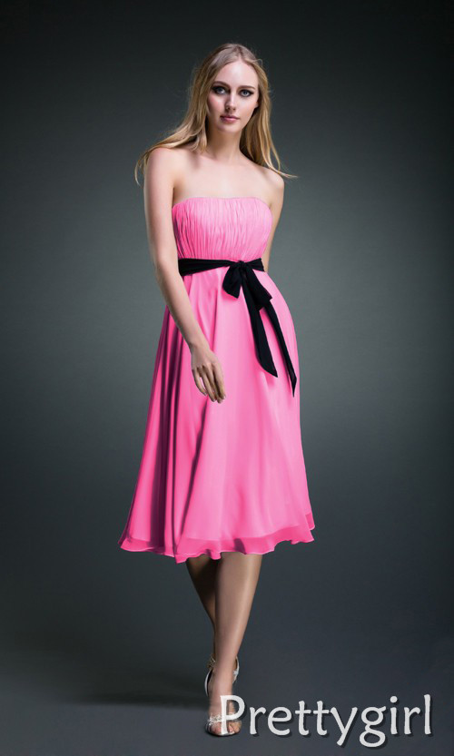 Pink and black bridesmaid dresses for Short red and white wedding dresses