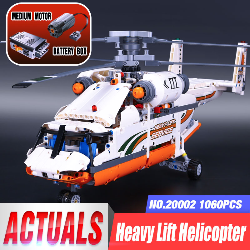 New 20002 Technic Series Motorized Heavy Lift Helicopter Motor Model Building Blocks Compatible 42052 Classic Toys For Children new lp2k series contactor lp2k06015 lp2k06015md lp2 k06015md 220v dc