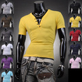 2016 Hot Sale Summer Strong Mens Design Casual V Neck Tee Fitness Tops New Arrival short sleeved T-Shirts 11 Colors 4 Sizes D204
