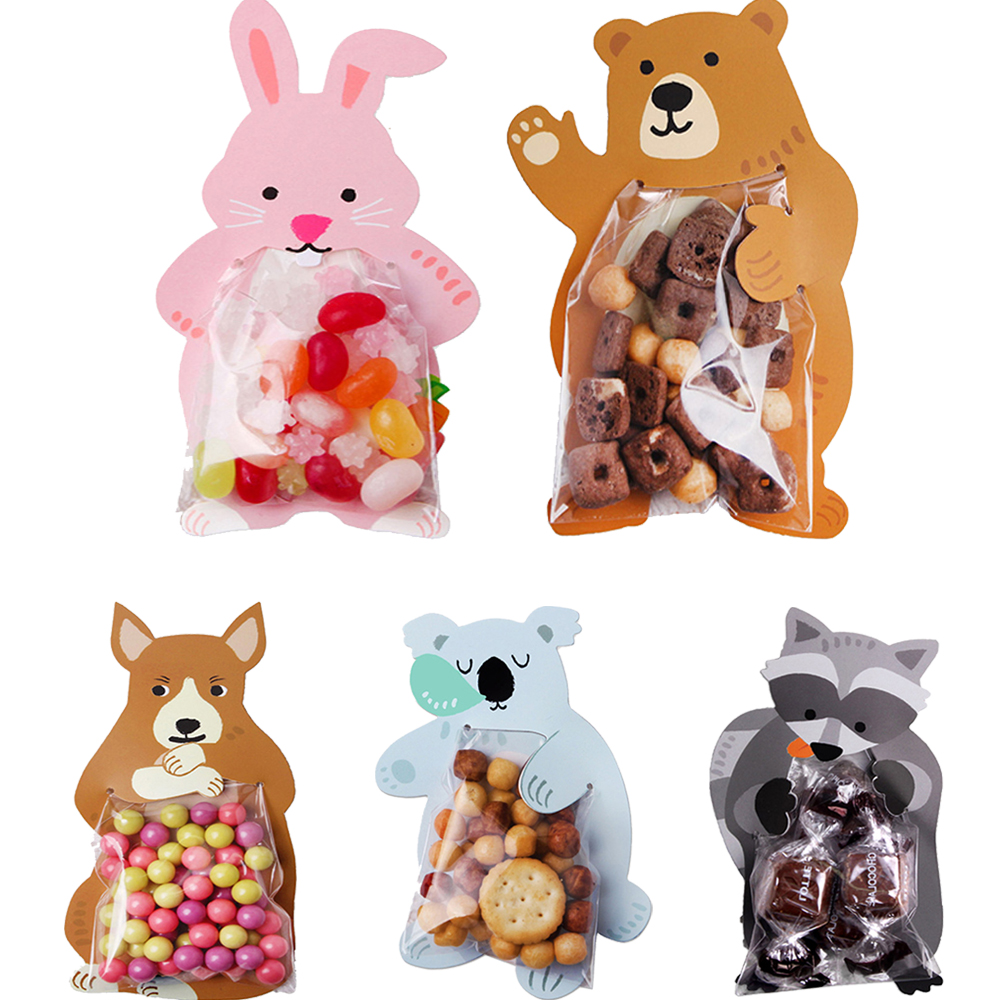 10Pcs Cartoon Rabbit Bear Greeting Cards Candy Gift Bags For Easter Party Decoration DIY Craft Gift Cookie Packaging Bags Box