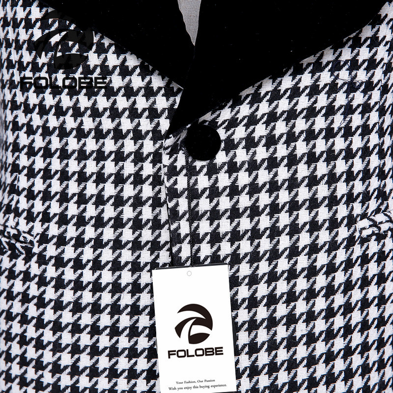 FOLOBE New Arrival Wool White& Black Plaid Blazer Mens Business Slim Fit Blazer Masculine Blazer Coat Suit men blazer M2