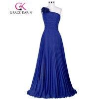 Grace Karin 2017 Jedno Ramię Długie Prom Dresses Niebieski Czerwony Zielony Fioletowy Suknia Ball Party Plisowane Specjalne Okazje Sukienka GK3467
