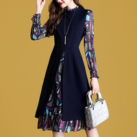Autumn Dresses women clothes 2018 NEW fashion print dress long sleeves fake two pieces casual dress Office Lady dresses