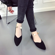 2018 New Women Suede Flats shoes Fashion Basic Pointy Toe Ballerina Ballet Flat Slip On women Shoes Q193