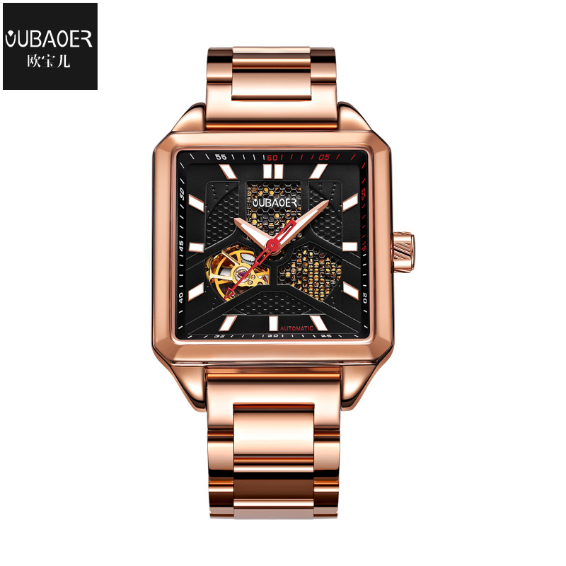 oubaoer brand luxury mens watches Mechanical automatic stainless steel waterproof man wristwatches business men's clocks square mens watches mechanical automatic stainless steel waterproof man wristwatches fashion hollow oubaoer brand luxury men s clocks