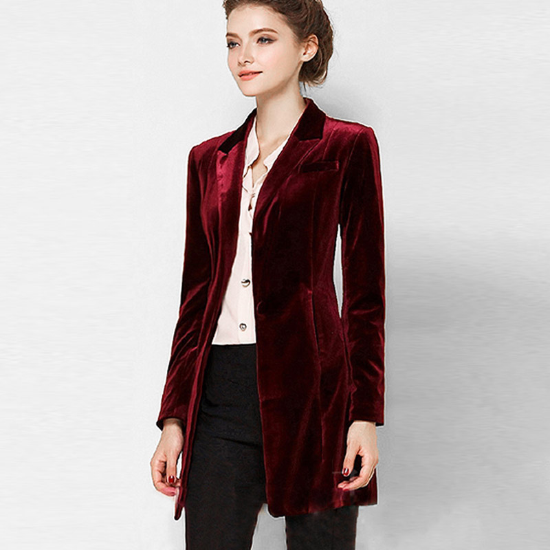 New Female High Quality Chic Tops Europe women's velvet blazer Slim Fit Long OL jacket Ladies Blouses Plus Size Free Shipping