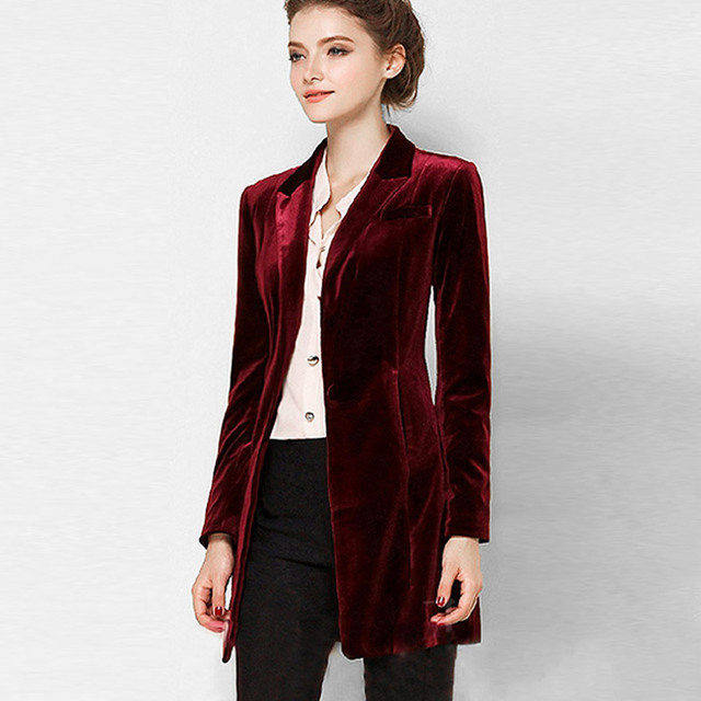 New Female High Quality Chic Tops Europe women s velvet blazer Slim Fit Long  OL jacket Ladies Blouses Plus Size Free Shipping 341ca80de