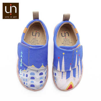 UIN City of Gaudi Design Painted Little Kids Casual Shoes Hook & Loop Soft Canvas Flats for Boys/Girls Outdoor Children Shoes - DISCOUNT ITEM  57% OFF All Category