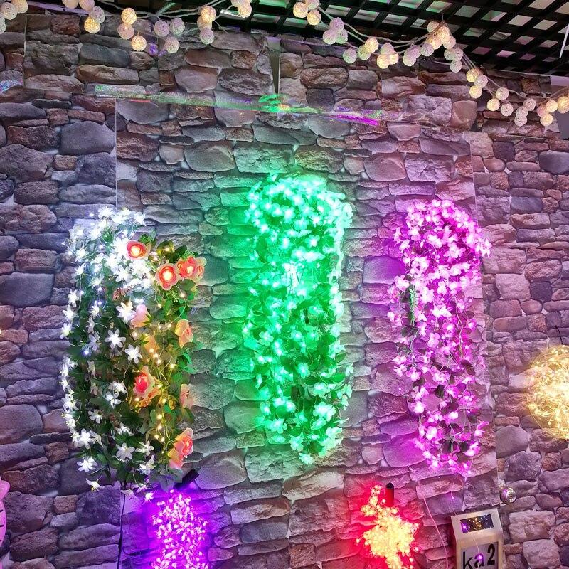 Led фиолетовый цветок свет DC 12 В Адаптер Питания Светящиеся гирлянды Для свадебной вечеринки decoraitons 264 шт. огни 80 см Искусственный