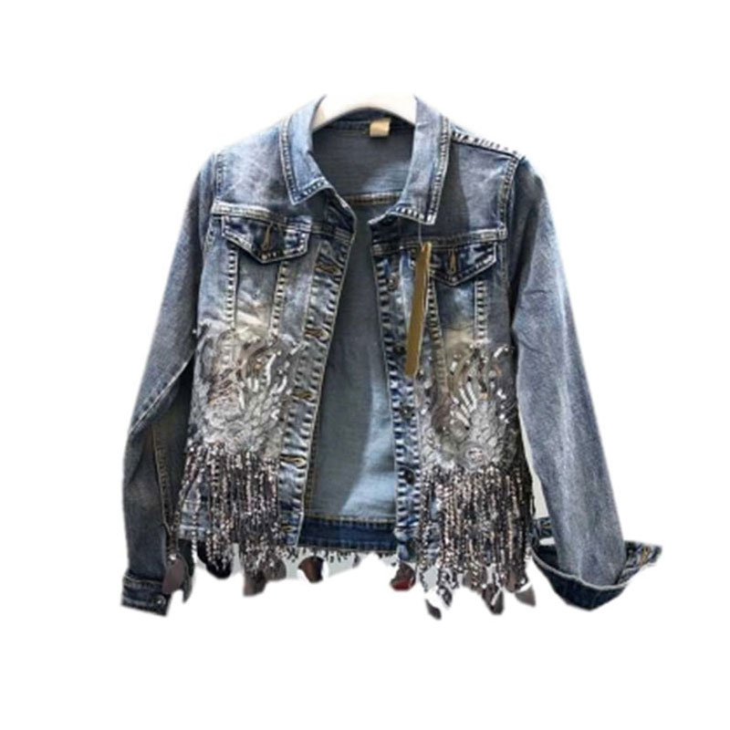 Sequins Beading Tassel Women Denim Jacket 2019 Spring Autumn Embroidery Outwear Casual Fashion Cool Girl Chic