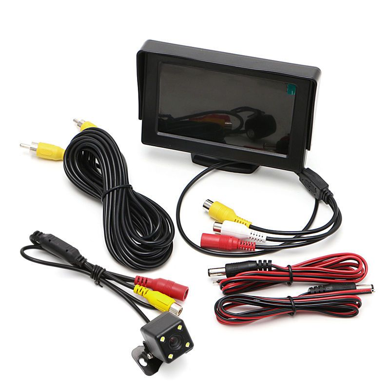 New Car Rear View Kit Digital 4.3 Car TFT LCD Monitor DC 12V Cars Rear View Monitor+Night Vision Backup Revers Camera 4 3 tft lcd car rear view stand security monitor and camera kit black