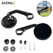 7/8 Universal Motorcycle Rearview Mirror Handlebar Cafe Racer Modification Motor CNC Aluminum Round Black Rear View Mirrors