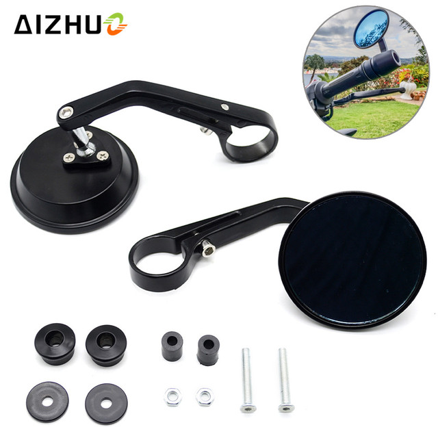 7/8'' Universal Motorcycle Rearview Mirror Handlebar Cafe Racer Modification Motor CNC Aluminum Round Black Rear View Mirrors
