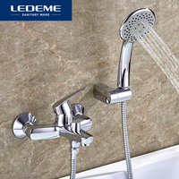 LEDEME Bathtub Faucet 1 Set Chrome Plated Outlet Pipe Bathroom Shower Bathtub Faucets Surface Brass Bath