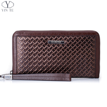 YINTE Men's Wallet Genuine Leather Casual Clutch Organizer Wallet Phone Cash Holder Pocket Checkbook Brown Woven Pattern T22844