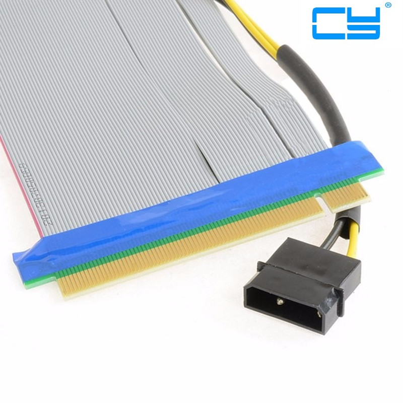 Riser PCI-E x16 pcie pci Express 16X to 16x Riser Extender Card with Molex IDE Power & Ribbon Cable adapter 20cm riser pci e x16 pcie pci express 16x to 16x riser extender card with molex ide power