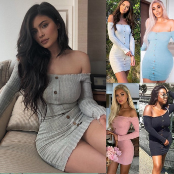 2019 Autumn Sexy Slim Dress Women Solid Color Off Shoulder Long Sleeve Sexy Slash Neck Bodycon Dresses Mini Party Dress Vestidos