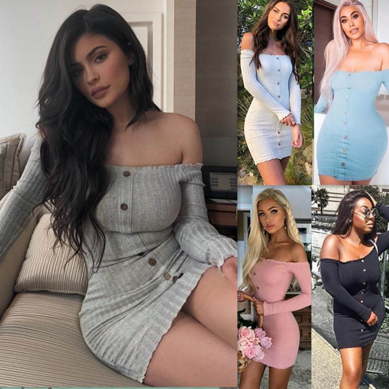 2019 outono sexy vestido fino feminino cor sólida fora do ombro manga longa sexy slash neck bodycon vestidos mini vestido de festa