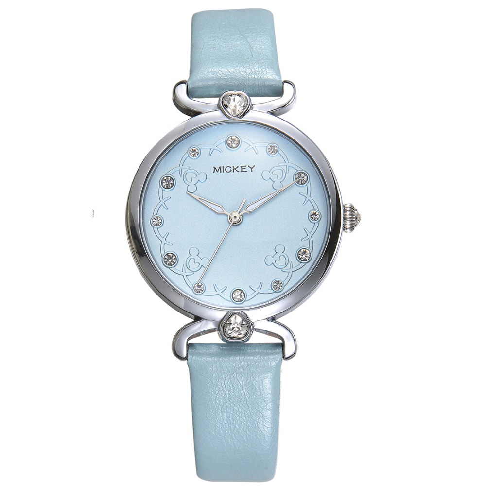 woman watches quartz genuine blue leather Disney Mickey luxury top brand female clock diamond casual 30m waterproof wristwatches