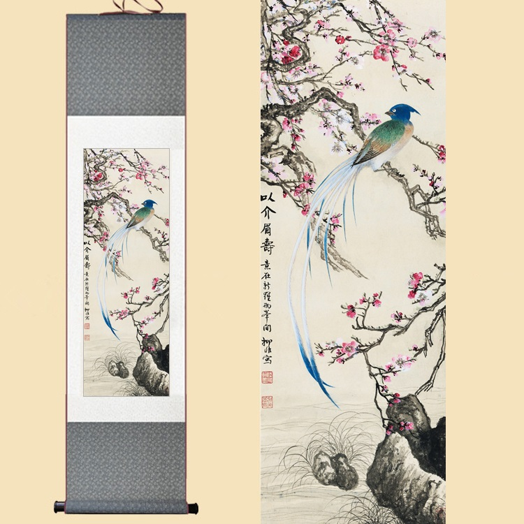Chinese Silk Watercolor Flower and Lucky Bird Peach Blossom feng shui ink art wall picture damask