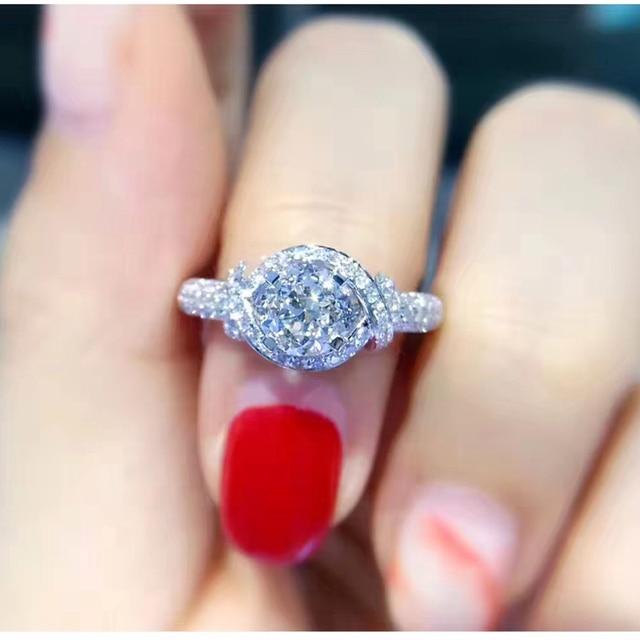 5cd220ecd ANI 18K White Gold (AU750) Women Wedding Ring IGI Certified G/VS1 1.01 CT  Real Diamond Ring Luxury Design Female Bijoux Custom