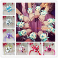 6 unids 13 Colores Hechos A Mano de LA PU de Baile de La Boda Decoración pip Novia Boutonniere novia damas de honor de la muñeca corsage muñeca nupcial bouquetsr