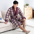 New !Winter Autumn Thick Plaid Robes Men's Fleece Cotton-padded Bathrobes Bathrobe Men Homewear Sleepwear Lounges  Pyjamas XXXL