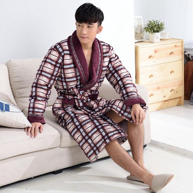 New !Winter Autumn Thick Plaid Robes Men's Fleece Cotton-padded Bathrobes Bathrobe Men Homewear Sleepwear Lounges  Pyjamas XXXL