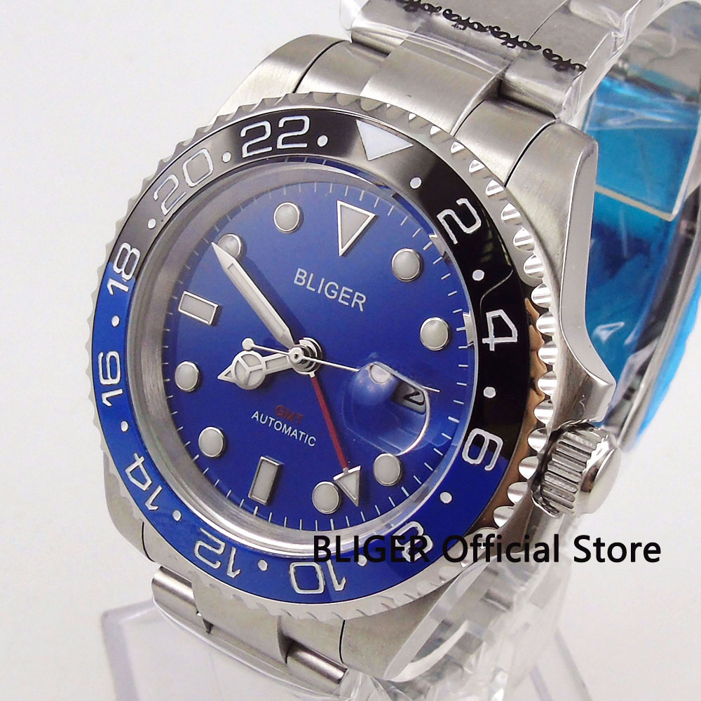 Solid BLIGER 40MM Blue Dial Ceramic Bezel GMT Function Sapphire Glass Mechanical Automatic Movement Mens WatchSolid BLIGER 40MM Blue Dial Ceramic Bezel GMT Function Sapphire Glass Mechanical Automatic Movement Mens Watch