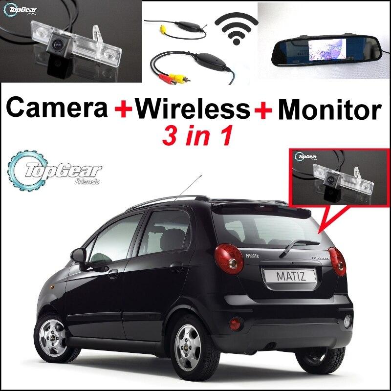 3in1 caméra de vue arrière WiFi spéciale + récepteur sans fil + miroir moniteur système de stationnement pour Chevy Chevrolet Lacetti Matiz Nubira