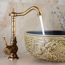 Высокое качество роскошные античная бронзовая медь высокий резьба на бортике кухни ванной бассейна кран раковина кран смесителя