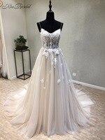Удивительный новый длинные свадебное платье 2018 Милая Спагетти ремень на шнуровке назад A Line Аппликации Тюль Свадебные платья Vestido Longo