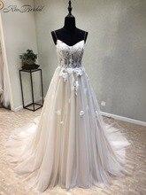 놀라운 새로운 긴 웨딩 드레스 2020 년 아가씨 스파게티 스트랩 레이스 업 a 라인 아플리케 Tulle 웨딩 드레스 Vestido longo
