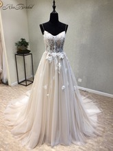Amazing New Long Wedding Dress 2020 Sweetheart Spaghetti Strap Lace Up Back A Line Appliques Tulle Wedding Gowns Vestido longo