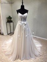 Amazing New Long Wedding Dress 2018 Sweetheart Spaghetti Strap Lace Up Back A Line Appliques Tulle Wedding Gowns Vestido longo