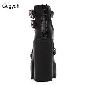 Image 3 - Женские ботильоны на платформе и толстом каблуке Gdgydh, черные повседневные ботильоны с вырезами, пряжкой и круглым носком, на высоком каблуке, с цепочкой, на весну/осень,