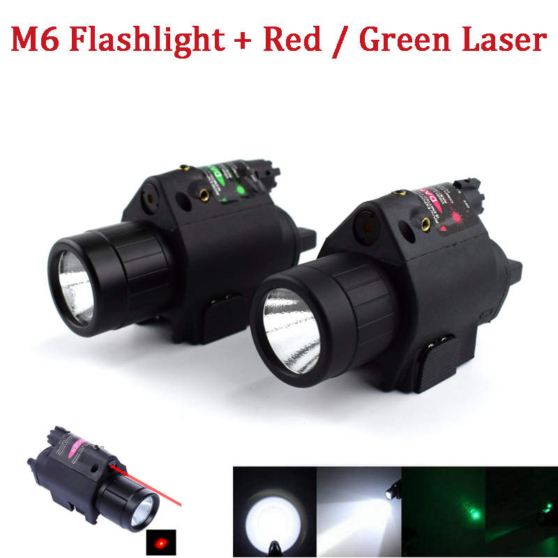Tactical Combo 2 In 1 M6 Red / Green Laser + Flashlight Fit For 20mm Rail Pistol Rifle Gun Hunting Shooting Sight Scope