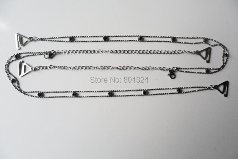 Metal Adjustable Silver Black Bra Shoulder Strap Rhinestone Bra Shoulder Strap Double Beads Clip Bra Underwear Shoulder Straps 5