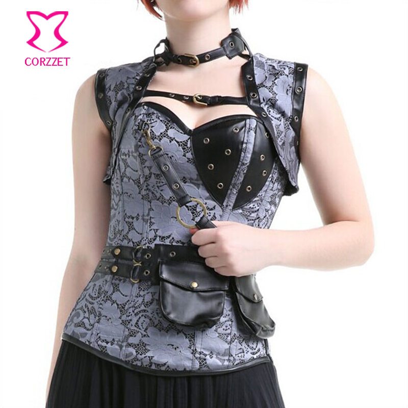 New Gothic Vintage Waist Trainer Overbust Steel Boned   Corsets   And   Bustiers   Women Sexy Steampunk   Corset   Corselet Tops Espartilho