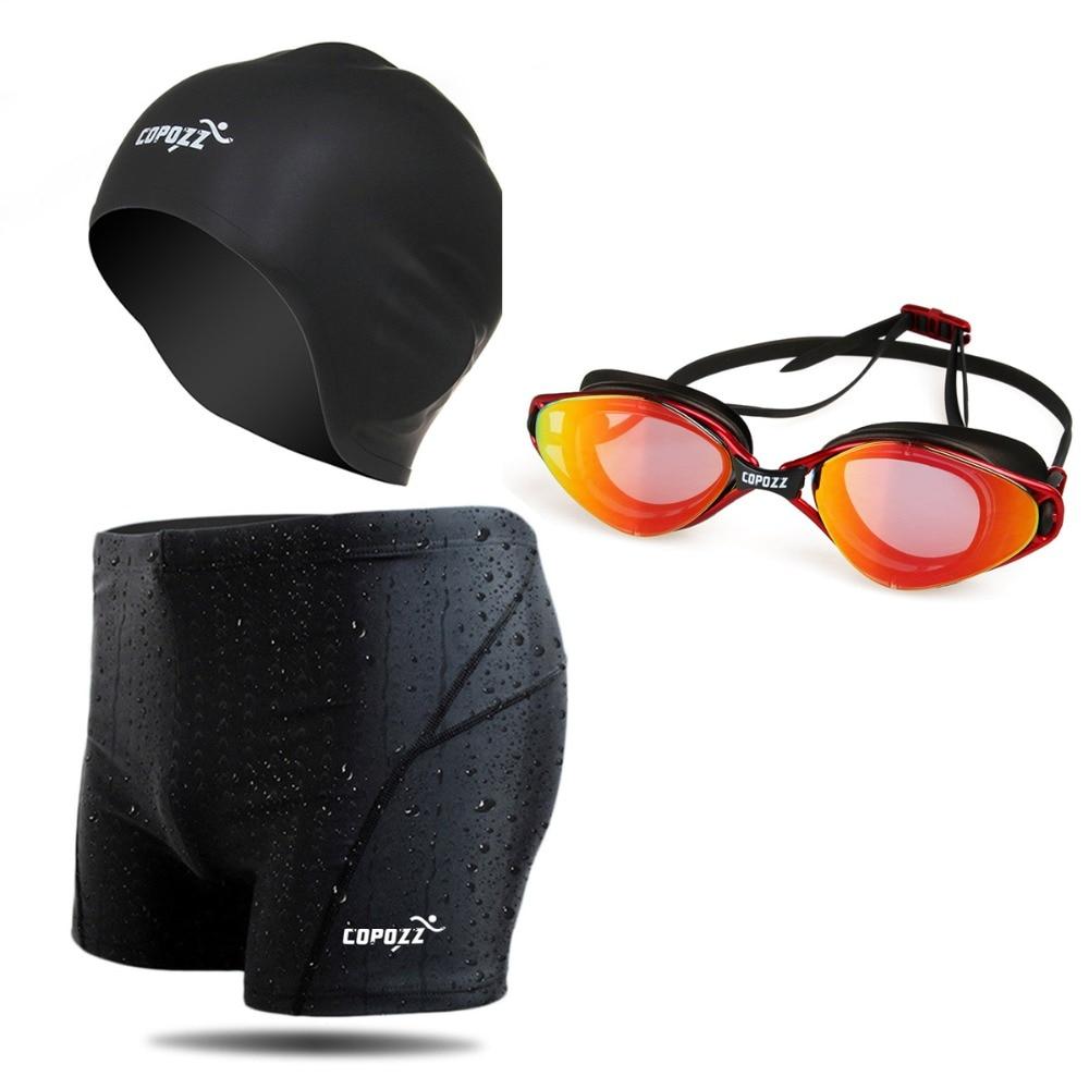Бренд Copozz Профессиональный плавание комплект плавание очки плавать шапки, плавать шорты Набор для мужчин