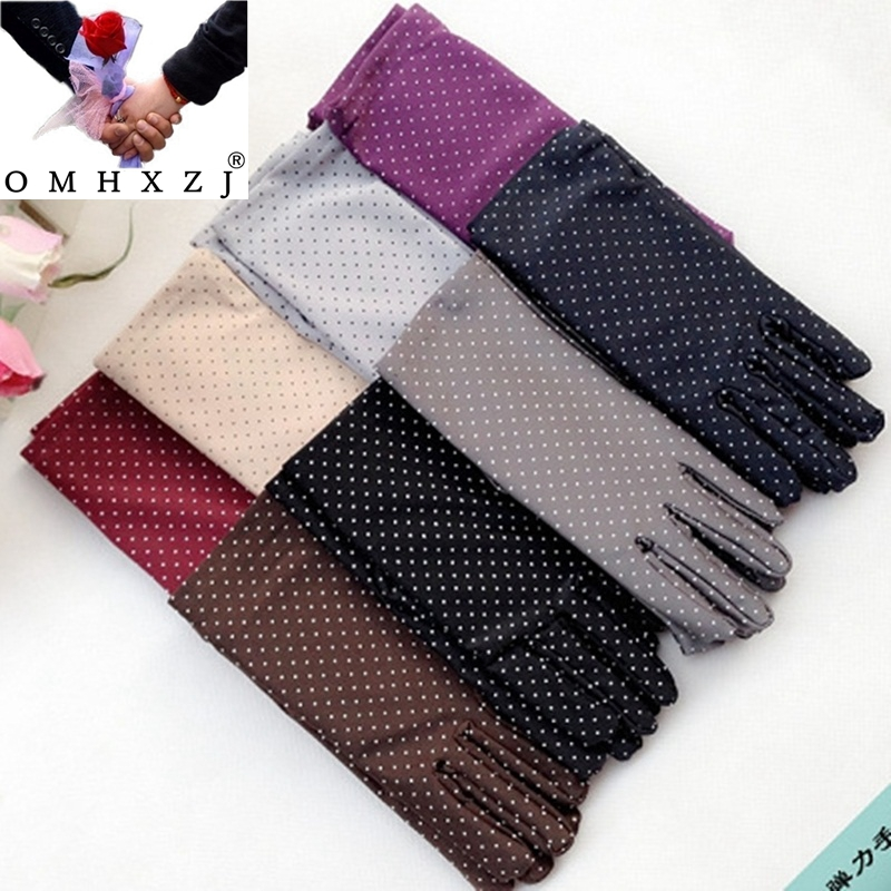 OMH Wholesale Woman Autumn Spandex White Dots Warm Health Protect Gloves Winter Driving Cycling Etiquette Cloth Accessories ST11