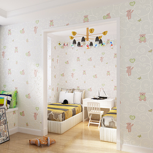Image 3 - 3D Cartoon Bear Environmental Protection Non Woven Wallpaper For Kids Room Children Room Bedroom Wall Decoration Wall Paper Roll