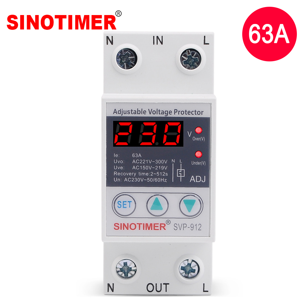 House 63A Adjustable Protection Over And Under Value Automatic High And Low Voltage Protect Relay