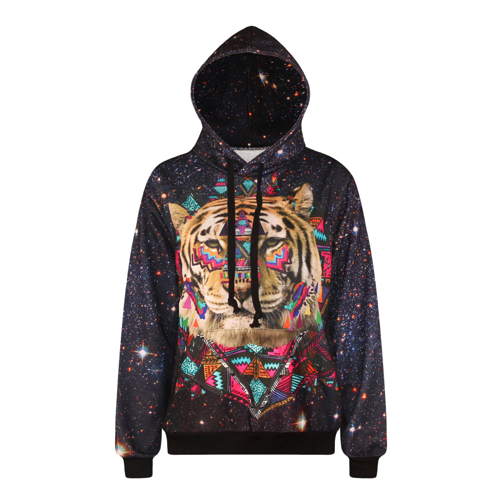 the star tiger head digital print leisure long-sleeved big code hooded hoodies