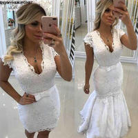 2018 Wedding Dresses with Detachable Skirt Sheath V Neck Short Wedding Dress Illusion Back beaded Lace Appliques Brridal Gowns
