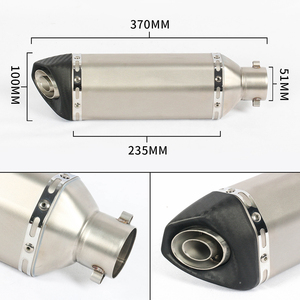 Image 2 - 4 Color Available 38~51mm Universal Motorcycle Exhaust Muffler Carbon Fiber+stainless Steel with Movable DB Killer For Dirt Bike